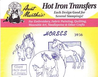 Vintage Aunt Martha's Hot Iron Transfer 3936, Horses