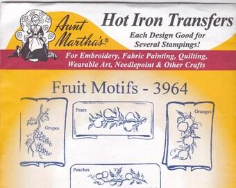 Vintage Aunt Martha's Hot Iron Transfer Fruit Motifs 3964