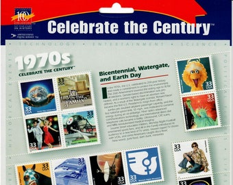 Vintage Postage Stamps Celebrate the Century 1970s Stamp Sheet 15 32 cent stamps, Scott 3189, 1999