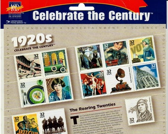 Vintage Postage Stamps Celebrate the Century 1920s Stamp Sheet 15 32 cent stamps, Scott 3184, 1998