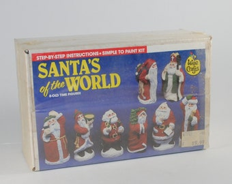 Vintage Santa Claus 8-Old Time Ceramic Figures that you paint yourself from Wee Crafts, Kit 21053, 1980s