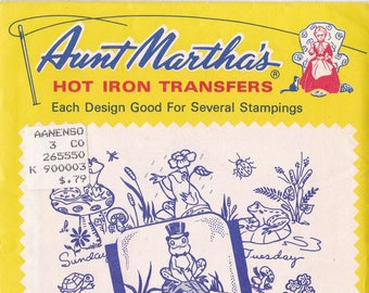 Vintage Aunt Martha's Hot Iron Frog Tea Towels #3765