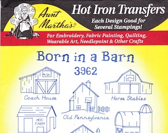 Aunt Martha's Hot Iron Transfer 3962, Born In A Barn