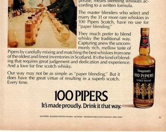 Vintage Print Art, Original Magazine Print Advertisement, Wall Art, Wall Decor, Seagram's 100 Pipers, 1972