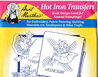 Aunt Martha's Hot Iron Transfers, Dutch Girl Tea Towel #3597