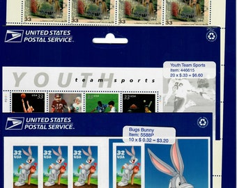 Vintage Postage Stamps Lot of 3, Frederick Law Olmsted Scott 3338 1999, Youth Team Sports Scott 3399 1999, Bugs Bunny Scott 3137 1997