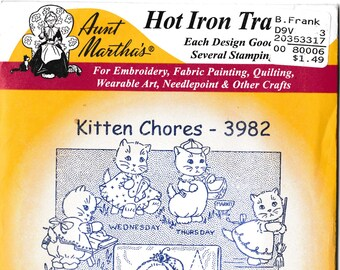 Aunt Martha's Hot Iron Transfers, Kitten Chores #3982