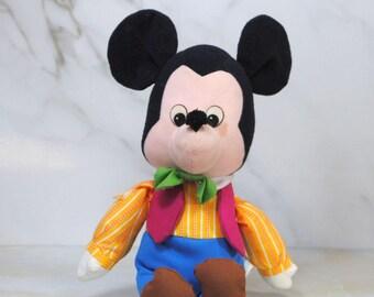 Vintage Mickey Mouse Stuffed Toy, Disney, Mickey The Cowboy, Knickerbocker, Collectible, Soft Doll, 1980s 12 inch, Walt Disney, Disney Toy