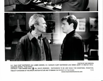 Vintage Photograph Clint Eastwood, James Woods and Dennis Leary, True Crime, 1999, 8x10 Black & White Promotional Photo
