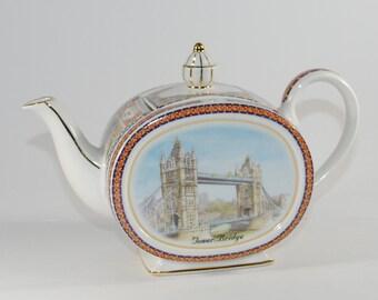 Vintage James Sadler Teapot Tower Bridge England 1990s