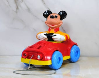 Vintage Mickey Mouse PULL MEE Pull-Along Toy, 1973