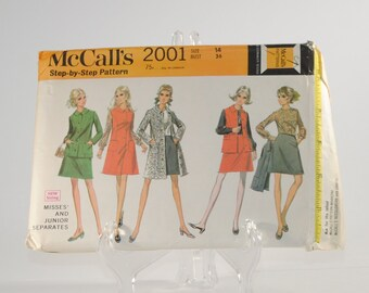 Vintage McCall's Sewing Pattern Complete Cut Pattern 2001 1969 Misses and Junior Separates Neatly Cut With Instructions