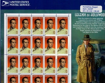 Vintage Postage Stamps Humphrey Bogart Stamp Sheet 20 32 cent stamps, Scott 3152, 1997