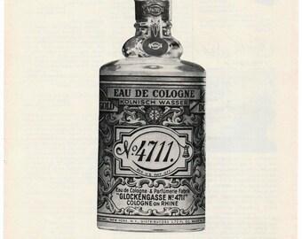 Vintage Glockengasse 4711 Cologne Original Magazine Advertisement 1960s