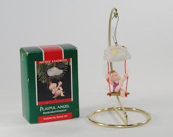 Vintage Hallmark Keepsake Christmas Ornament, Playful Angel, 1989