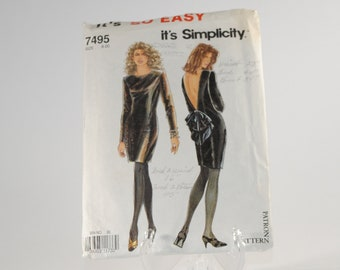 Vintage Simplicity Sewing Pattern Complete Cut Pattern 7495 1991 Misses Evening Dress Cut To Size 8 With Instructions