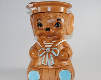 Vintage Mouse Cookie Jar, Sailor Mouse by Twin Winton Large Cookie Jar, 1960's Brown Mouse in Sailor Suit