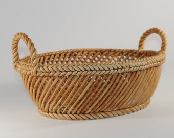 Vintage Porcelain Oval Basket with Handles from the Mid Century. Hand Painted Oval Basket