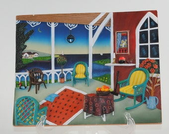 Vintage 3D Wall Art Plaque Rooms with a view Nantucket based in a painting by Fanch Ledan 1998 from RECO