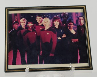 Vintage Star Trek Photograph of the Next Generation Cast in Glass Frame 1991