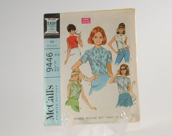 """Vintage McCall's Sewing Pattern Complete Cut Pattern 9446 1968 Misses Blouse Set """"Easy to sew"""" Neatly Cut With Instructions"""