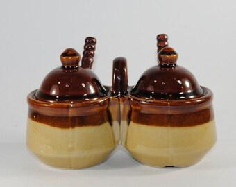 Vintage Condiment Server, Tan and Brown Double Crock Condiment Set w/ 2 Original Spoons, 1970's