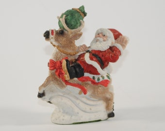 Vintage Santa Claus and his Reindeer from Jolly Old Elf Collection 1996