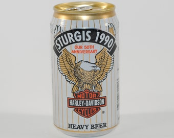 Vintage Beer Can, Harley Davidson, Beer, Sturgis Bike Week 1990, 50th Anniversary