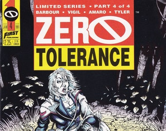 Vintage Comic Book Zero Tolerance Volume 1 Number 4  January 1991, First Comics, Comic, Comic Books, Vintage Comic, Vintage First
