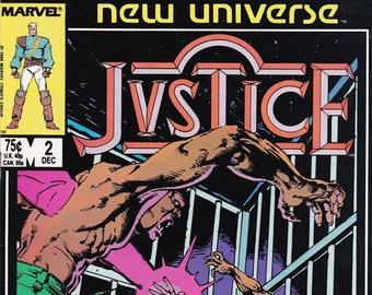 Vintage Comic Book Justice Volume 2 Number 2  December 1986, Marvel Comics, Comic, Comic Books, Vintage Comic, Vintage Marvel