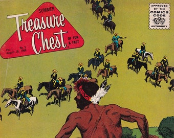 Vintage Treasure Chest Comic Book, The Trap Begins To Close On Custer's Men, Volume 1 Number 5, Aug 18, 1966