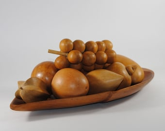 Vintage Wooden Fruit Bowl with 8 types of Fruits & Vegetables, 1970s