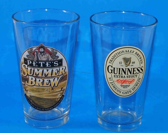 Vintage Beer Pint Glasses Petes Summer Brew and Guinness Extra Stout