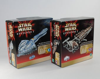 Vintage Star Wars Puzz 3D Mini Star Wars Episode 1 Puzzles Gungan Sub and Sith Infiltrator by Milton Bradley