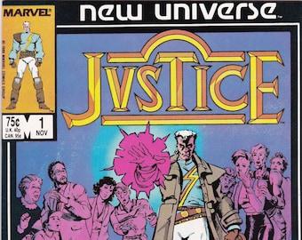 Vintage Comic Book, Justice, Volume 2 Number 1  November 1986, Marvel Comics, Comic, Comic Books, Vintage Comic, Vintage Marvel