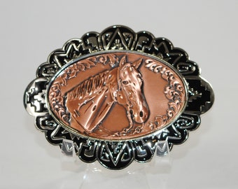 "New Copper Belt Buckle Horse Head 4"" x 3"""