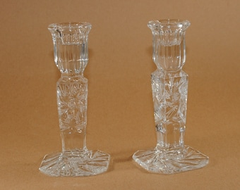 Vintage Crystal Candle Holders Polish Lead Crystal by Imperlux in Star Pattern, Set of 2 Tall Candlestick Holders