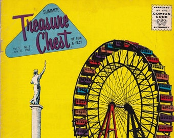 Vintage Treasure Chest Comic Book, The Biggest Wheel On Earth, Volume 1 Number 3, July 21, 1966