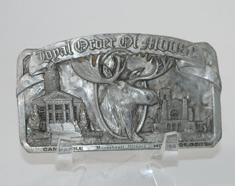 Vintage Belt Buckle, Royal Order of the Moose, Mooseheart Illinois, 1980s