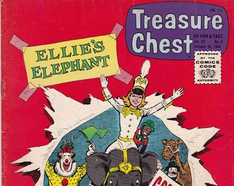 Vintage Treasure Chest Comic Book, Ellie's Elephant, Volume 22 Number 4, October 20 1966