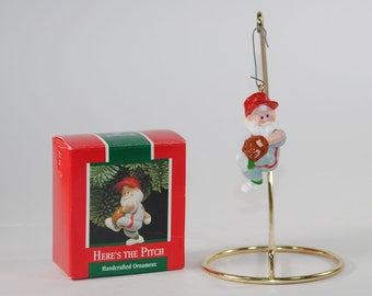 Vintage Hallmark Keepsake Christmas Ornament Here's The Pitch Ornament, 1989