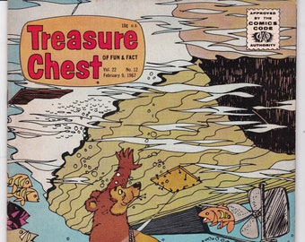 Vintage Treasure Chest Comic Book, George A Pflaum, The Timid Bear, Volume 22 Number 12, February 9 1967