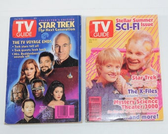 Vintage TV Guide Science Fiction Lot of 2 Magazines, Star Trek Voyager Cast July 15-21 1995, Star Trek Collector's Edition May 14-20 1994