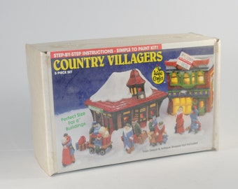 Vintage Country Village Ceramic Figures that you paint yourself from Wee Crafts, Kit 21526, 1980s, Paint by number