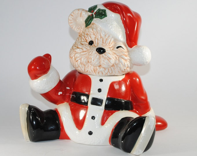 Featured listing image: Vintage Santa Cookie Jar, Santa Bear Musical Cookie Jar by Brenda Thomas for House of Lloyd 1990,