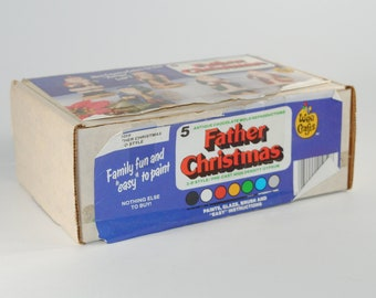 Vintage Father Christmas 5 Ceramic Figures that you paint yourself from Wee Crafts, Kit 21059, 1980s