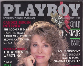 Vintage Playboy Magazine December 1989, Playboy Gala, Christmas Issue, Candice Bergen