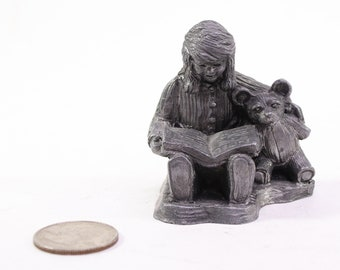 Vintage Ricker Pewter Figurine, The Gift Of Love, A girl and her teddy. This is #4899 Hallmark Casting Number from 1991, Special Edition