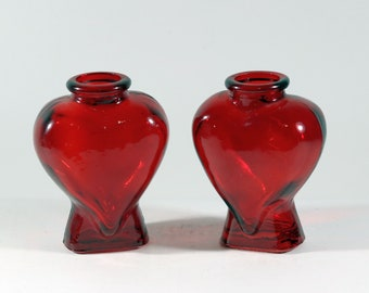 Beautiful Ruby Red Stained Heart Shaped Pressed Glass Bottles / Vases