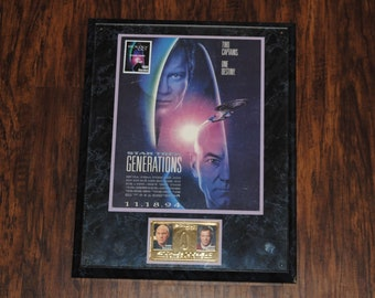 Vintage Star Trek Generations Collectors Plaque, 1994, Gold Stamped Kirk and Picard, Guyana 100 Stamp, Wood Plaque, Two Captains